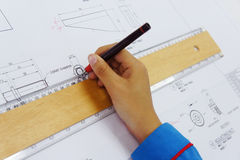 Technical drawing finishing Royalty Free Stock Photos