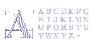 Technical Drawing Font. Hand drawn technical drawing letters font Royalty Free Stock Image