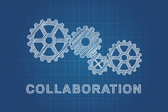 Technical drawing of gears, idea of teamwork Royalty Free Stock Photos