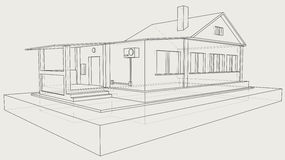 Technical drawing of the gray house Royalty Free Stock Photos