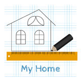 Technical drawing house with pencil and ruler Royalty Free Stock Photo