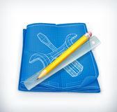 Technical drawing icon stock illustration