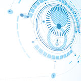 Technical drawing made using dashed lines and geometric circles. Blue perspective vector wallpaper created in communications technology style, 3d engine design Royalty Free Stock Photography
