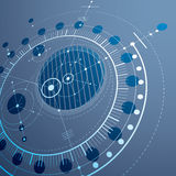 Technical drawing made using dashed lines and geometric circles. Blue perspective vector wallpaper created in communications technology style, 3d engine design Stock Images