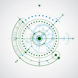 Technical drawing made using dashed lines and geometric circles. Stock Photos