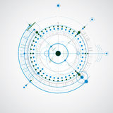 Technical drawing made using dashed lines and geometric circles. Stock Image