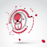 Technical drawing made using dashed lines and geometric circles. Red perspective vector wallpaper created in communications technology style, 3d engine design Stock Photos