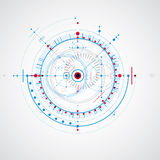 Technical drawing made using dashed lines and geometric circles. Royalty Free Stock Images