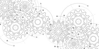 Free Technical Drawing Of Gears .Rotating Mechanism Of Round Parts .Machine Technology. Vector Illustration. Royalty Free Stock Photography - 172110907