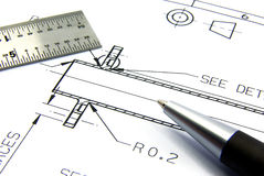Technical drawing with pen and ruler Royalty Free Stock Photos