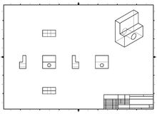 Technical Drawing with perspective and orthogonal views with stamp Stock Photo