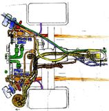 Technical drawing of piping system Stock Photo