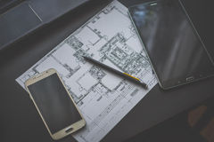 Technical drawing, smartphone and tablet Stock Photography