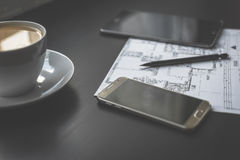 Technical drawing, smartphone and tablet. Stock Photography