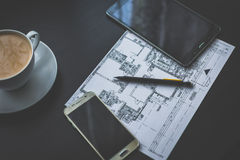 Technical drawing, smartphone and tablet. Stock Image