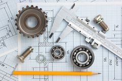 Technical drawing. And tools with bearings royalty free stock photos