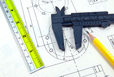 Technical drawing and tools Stock Photography