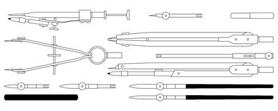 Technical drawing tools. 12 piece technical drawing tool set Stock Photography
