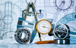 Technical drawing and tools. Abstract stock photos