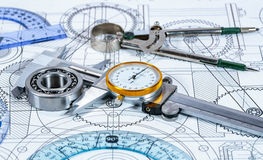 Technical drawing and tools. Abstract stock image