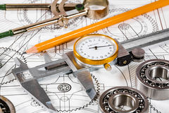Technical drawing and tools. Abstract royalty free stock images