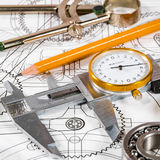 Technical drawing and tools Royalty Free Stock Photos