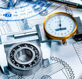 Technical drawing and tools Royalty Free Stock Photography