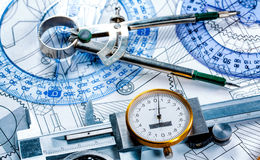 Technical drawing and tools Stock Photos