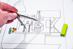 Technical drawing and tools Stock Images