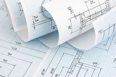 Technical drawing. Twisted technical drawing close up royalty free stock image