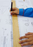 Technical drawing work Stock Image