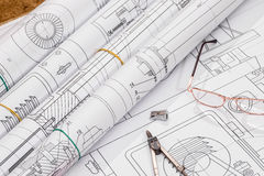 Technical drawing and work tools. Some technical drawing and work tools Royalty Free Stock Photography