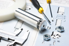 Technical drawings. With tools and parts royalty free stock image