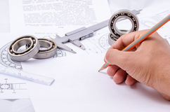 Technical drawings with the Ball bearings royalty free stock images