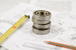 Technical drawings with the Ball bearings Stock Photos