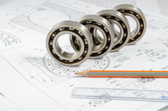 Technical drawings with the Ball bearings stock image
