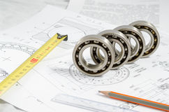 Technical drawings with the Ball bearings stock photo