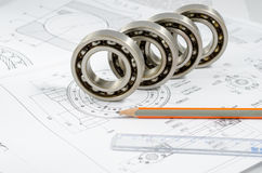 Technical drawings with the Ball bearings Royalty Free Stock Photography