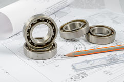 Technical drawings with the Ball bearings Royalty Free Stock Image