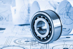 Technical drawings with the bearing Royalty Free Stock Images