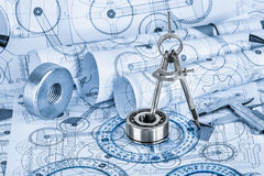 Technical drawings with the bearing Stock Images