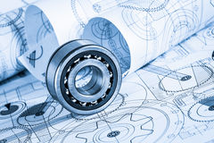 Technical drawings with the bearing Stock Image