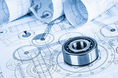Technical drawings with the bearing Royalty Free Stock Photography