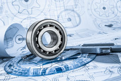Technical drawings with the bearing Stock Photography