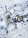 Technical drawings with the bearing. In a blue toning royalty free stock photos