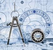 Technical drawings with the bearing. In a blue toning stock photo