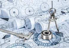 Technical drawings with the bearing Stock Photos