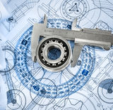 Technical drawings with the bearing Royalty Free Stock Photo