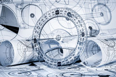 Technical drawings. In a blue toning royalty free stock image