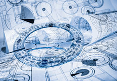 Technical drawings. In a blue toning stock photo